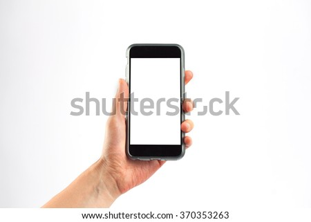 Female hand holding a mobile phone in vertical orientation. Isolated on white background with white screen. #370353263