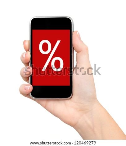 female hand holding a phone touch computer pad gadget with sale on a red screen