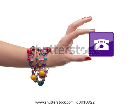 female hand holding a rectangular icon isolated on white
