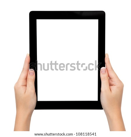 female hand holding a tablet touch pad computer gadget with isolated screen