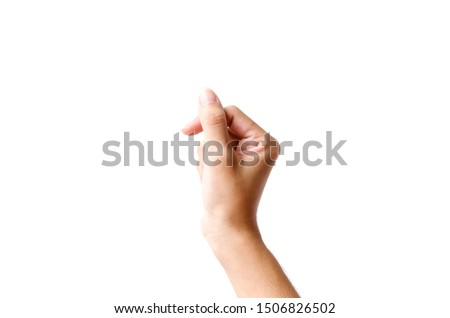 Female hand holding a virtual card with your fingers on a white background with clipping path.