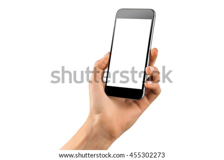 Female hand holding black cellphone with white screen at isolated background. #455302273