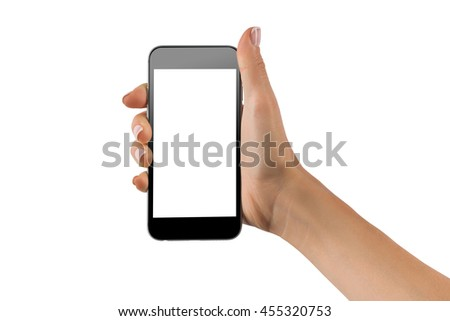 Female hand holding black cellphone with white screen at isolated background. #455320753