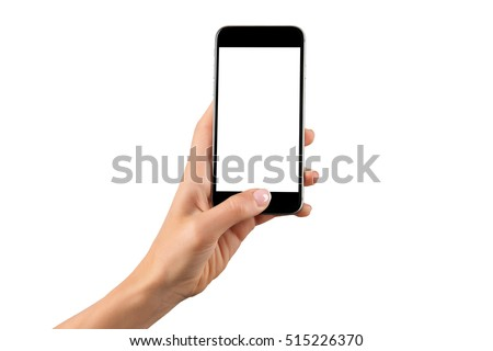 Female hand holding black cellphone with white screen at isolated background. #515226370