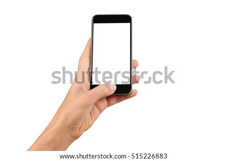 Female hand holding black cellphone with white screen at isolated background. #515226883