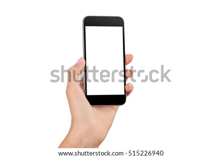Female hand holding black cellphone with white screen at isolated background. #515226940