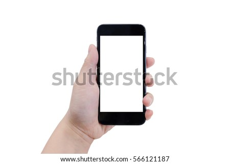 Female hand holding black phone. Isolated on white background, clipping path. #566121187