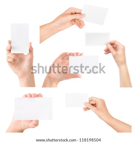 Female hand holding blank business card in hand. Collection set. Isolated on white.