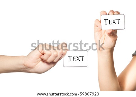 Female hand holding blank cards with copy space isolated on white