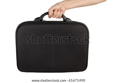 Female hand holding briefcase.