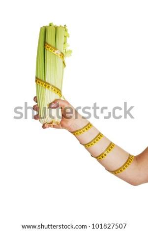 Female hand holding celery isolated on white background
