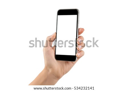 Female hand holding cellphone isolated at white background. #534232141
