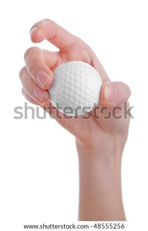 female hand holding golf ball isolated on white background