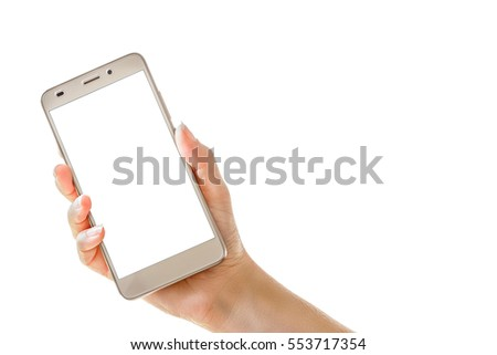 Female hand holding mobile smart phone isolated on  white background