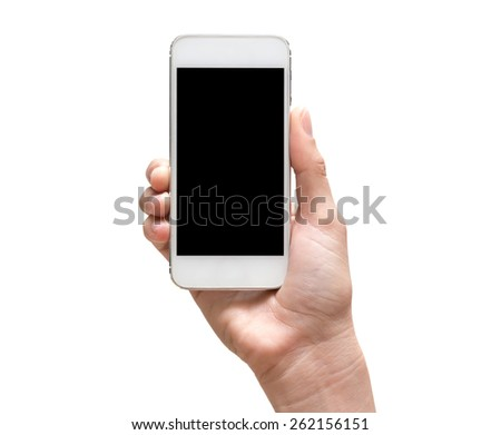 Female hand holding mobile smart phone touch screen on white background, include clipping path #262156151