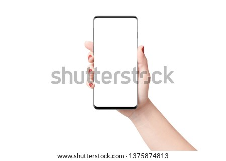 Female hand holding modern phone in vertical position, isolated on white background. Mockup