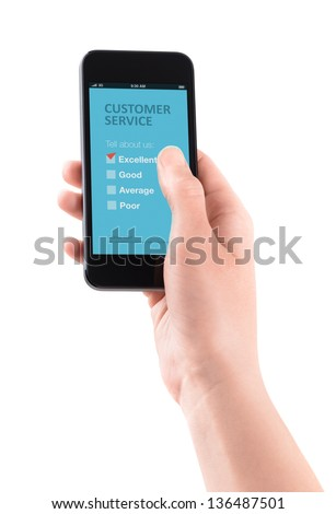 Female hand holding modern smartphone with customer service survey form on a screen. Red tick on excellent choice showing customer satisfaction.