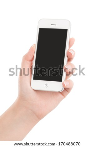 Female hand holding modern white mobile smart phone with blank screen isolated on white background. High quality.