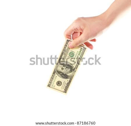Female hand holding money dollars isolated on white