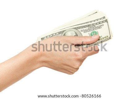 Female hand holding pack of money, isolated on white background