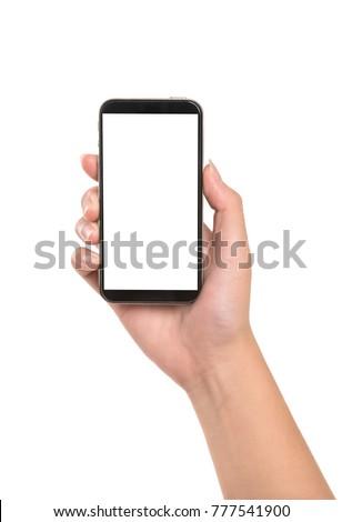 Female hand holding smart phone isolated on white background.