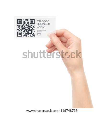 Female hand holding transparent business card with QR code information. Isolated on white.