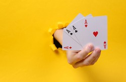 Female hand holds four aces through torn hole yellow paper. Gambling addiction. Concept art