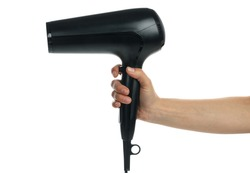 Female hand holds hair dryer, isolated on white background