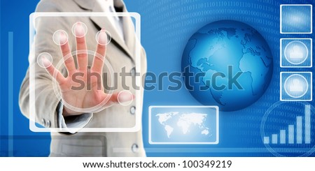 female hand in suit touching fingerprint scanner on virtual interface of identification system