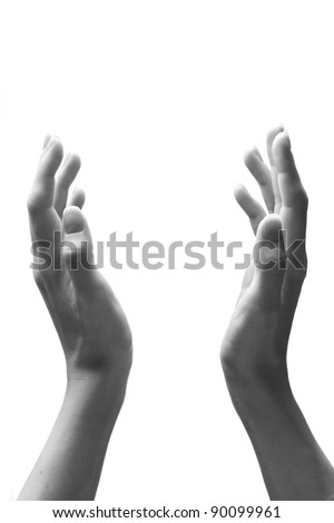 Female hand in white-and-black version