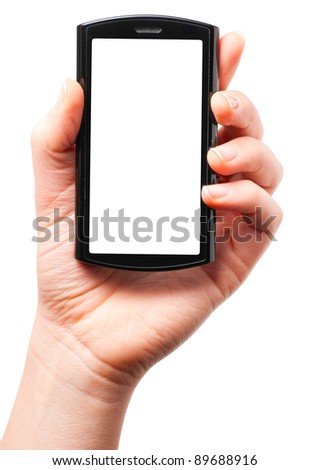 female hand is holding a modern touch screen phone. Screen is cut with clipping path