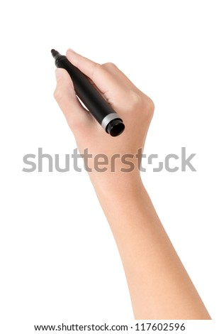 Female hand is ready for drawing with black marker. Isolated on white.