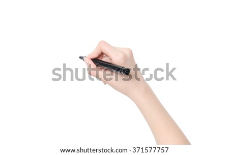 Female hand is ready for drawing with black marker. Isolated on white. #371577757