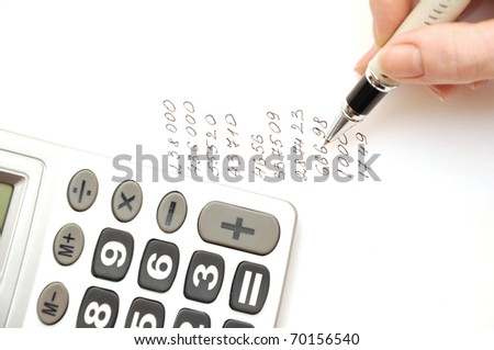 Female hand is writing in business document