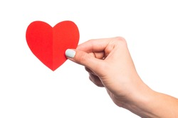 female hand isolated on white background holding paper heart