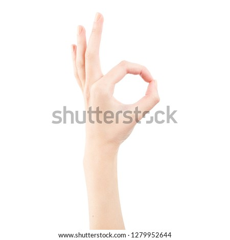 Female hand isolated on white background. White woman's hand showing symbols and gestures. Representative confirmation gesture #1279952644