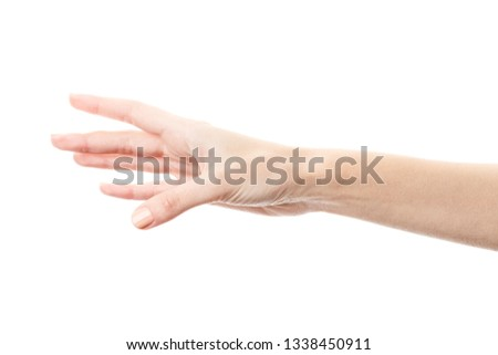 Female hand isolated on white background. White woman's hand showing symbols and gestures. Palm #1338450911