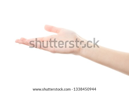 Female hand isolated on white background. White woman's hand showing symbols and gestures. Palm #1338450944