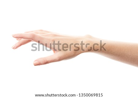 Female hand isolated on white background. White woman's hand showing symbols and gestures. Palm #1350069815