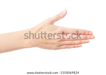 Female hand isolated on white background. White woman's hand showing symbols and gestures. Palm #1350069824
