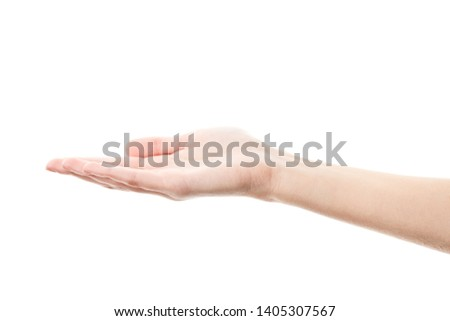 Female hand isolated on white background. White woman's hand showing symbols and gestures. Palm #1405307567