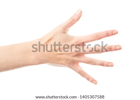 Female hand isolated on white background. White woman's hand showing symbols and gestures. Palm #1405307588
