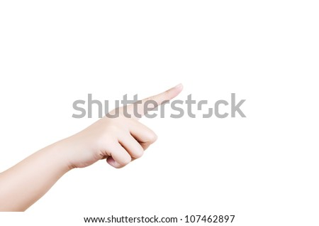 Female hand isolated, with clipping path.