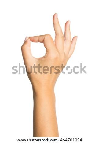 Female hand OK sign isolated on white background #464701994
