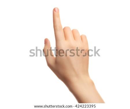 Female hand on white background #424223395