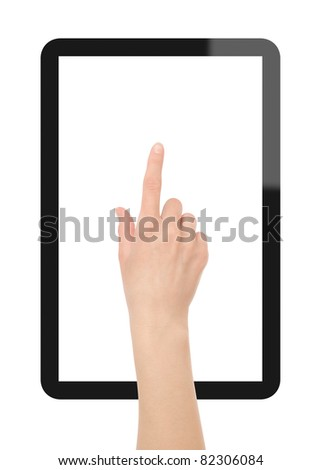 Female hand point on blank tablet pc. Include clipping path for hand, screen and tablet. Isolated on white.