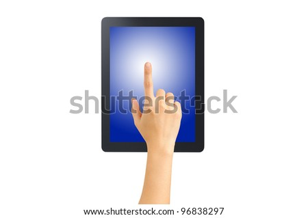 Female hand point on blank tablet pc. Include clipping path for hand, screen and tablet. Isolated on white