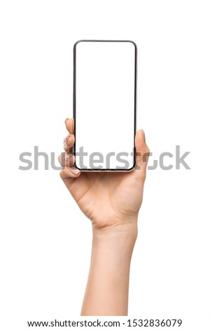 Female hand presenting new smartphone with big blank screen. isolated on white background, copy space