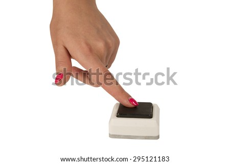 female hand press a button isolated on white background #295121183