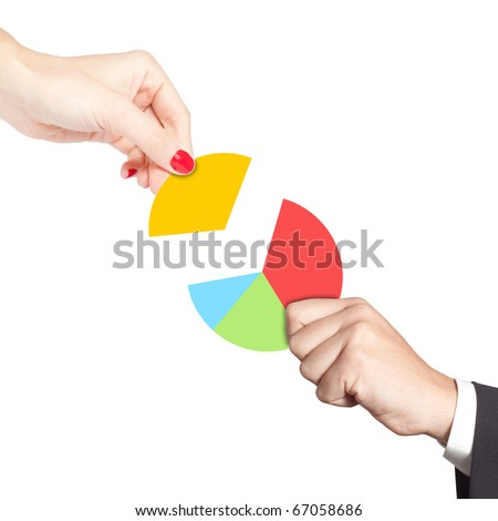 Female hand putting the last piece of a pie chart on place (partnership, teamwork, investment and other financial concepts)
